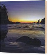 Washington Coast Tides Retreat Wood Print