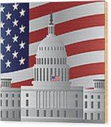 Washington Dc Capitol Us Flag Background Wood Print