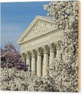 Washington Dc Cherry Blossom Supreme Court Wood Print