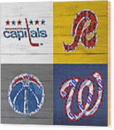 Washington Dc Sports Fan Recycled Vintage License Plate Art Capitals Redskins Wizards Nationals Wood Print