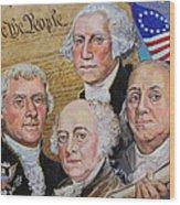 Founding Fathers Washington Jefferson Adams And Franklin Wood Print