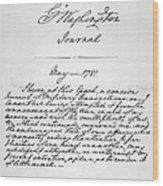 Washington: Journal, 1781 Wood Print
