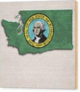 Washington Map Art With Flag Design Wood Print