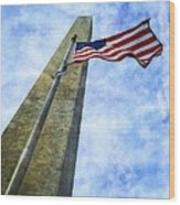 Washington Monument And Flag Wood Print