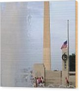 Washington Monument At The Wwii Memorial Wood Print