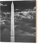 Washington Monument In Cloudy Sky Wood Print