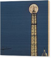 Washington Monument Piercing The Full Moon Wood Print