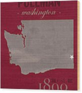 Washington State University Cougars Pullman College Town State Map Poster Series No 123 Wood Print