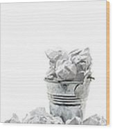 Waste Basket With Crumpled Papers Wood Print