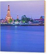 Wat Arun Temple Bangkok Thailand Wood Print