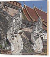 Wat Chedi Luang Phra Chedi Luang Five-headed Naga Dthcm0052 Wood Print