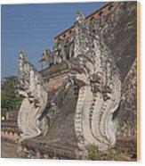 Wat Chedi Luang Phra Chedi Luang Five-headed Naga Dthcm0054 Wood Print