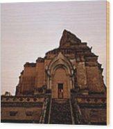 Wat Chedi Luang Sunset Wood Print