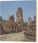 Wat Mahathat Prangs And Chedi Dtha0231 Wood Print