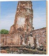 Wat Mahathat Temple In Ayutthaya Wood Print