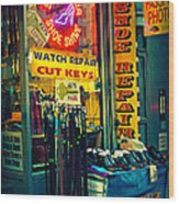 Watch Repair Shop - Keys Made Here Wood Print