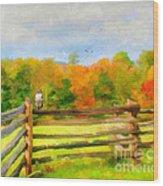 Watching Autumn Wood Print