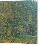 Watching Climbers From Ocean Floor At Cape Enrage-nb Wood Print