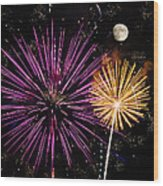 Watching Pink And Gold Explosion - Fireworks And Moon II Wood Print