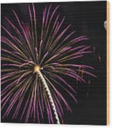 Watching Pink And Gold Explosion - Fireworks And Moon I  Wood Print