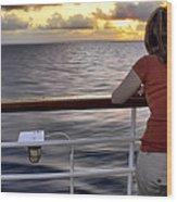 Watching The Sunrise At Sea Wood Print