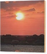 Watching The Sunset Over The Mediterranian Wood Print