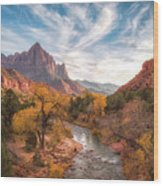 Watchman Sunset Wood Print