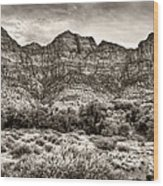 Watchman Trail In Sepia - Zion Wood Print