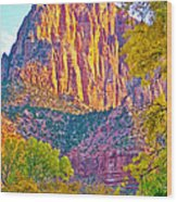 Watchman's Peak In Zion National Park-utah Wood Print