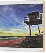 Watchtower On The Beach Wood Print