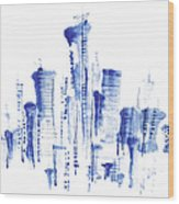 Water-and-ink Cityscape Wood Print