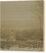Water Buffalo And Egret Wood Print by Frank Feliciano