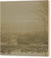 Water Buffalo And Egret Wood Print