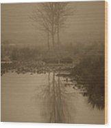 Water Buffalo Morning Fog Wood Print