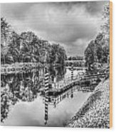 Water Bus Stop Bute Park Cardiff Mono Wood Print