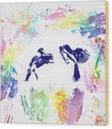 Water Color Bird Fight Wood Print