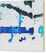 Water Dance - Blue And White Art By Sharon Cummings Wood Print