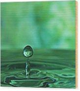 Water Drop Green Wood Print