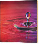 Water Drop In Red And Blue - Water Drop Photograph Wood Print