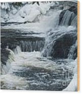Water Fall On The River Wood Print