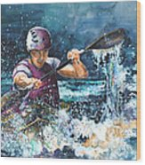 Water Fight Wood Print