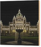 Water Fountain By Parliament Buildings In Victoria Bc Wood Print
