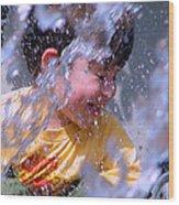 Water Fountain Joy Three Wood Print