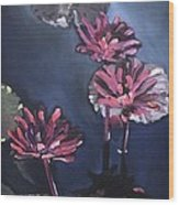Water Lilies At Sunset Wood Print