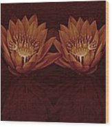 Water Lilies In Deep Sepia Wood Print
