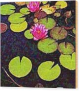 Water Lilies With Pink Flowers - Vertical Wood Print