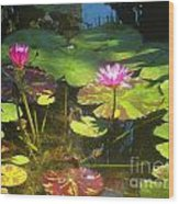 Water Lilly Garden Wood Print