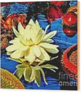 Water Lilly Pond Wood Print by Nick Zelinsky