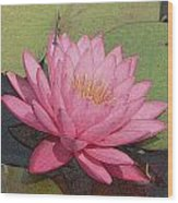 Water Lily And Guest Wood Print