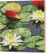 Water Lily Pond In Autumn Wood Print